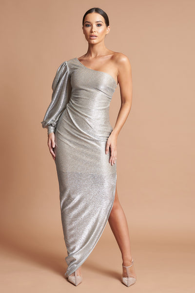LTD Edition Metallic Puff Sleeve Dress