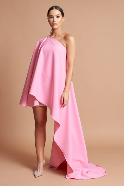 Rose Pink Asymmetric Drape Dress