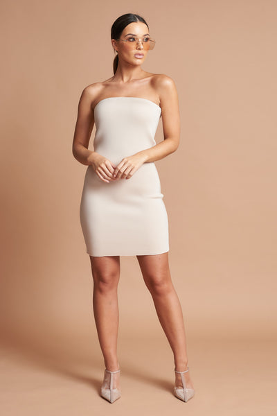 Beige Bandeau Mini Dress