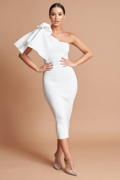 Ivory Bow Detail Midi Dress