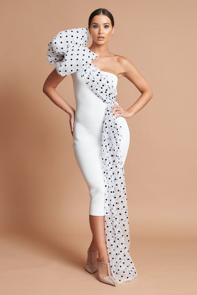 Ivory Polka Dot Bow Shoulder Dress
