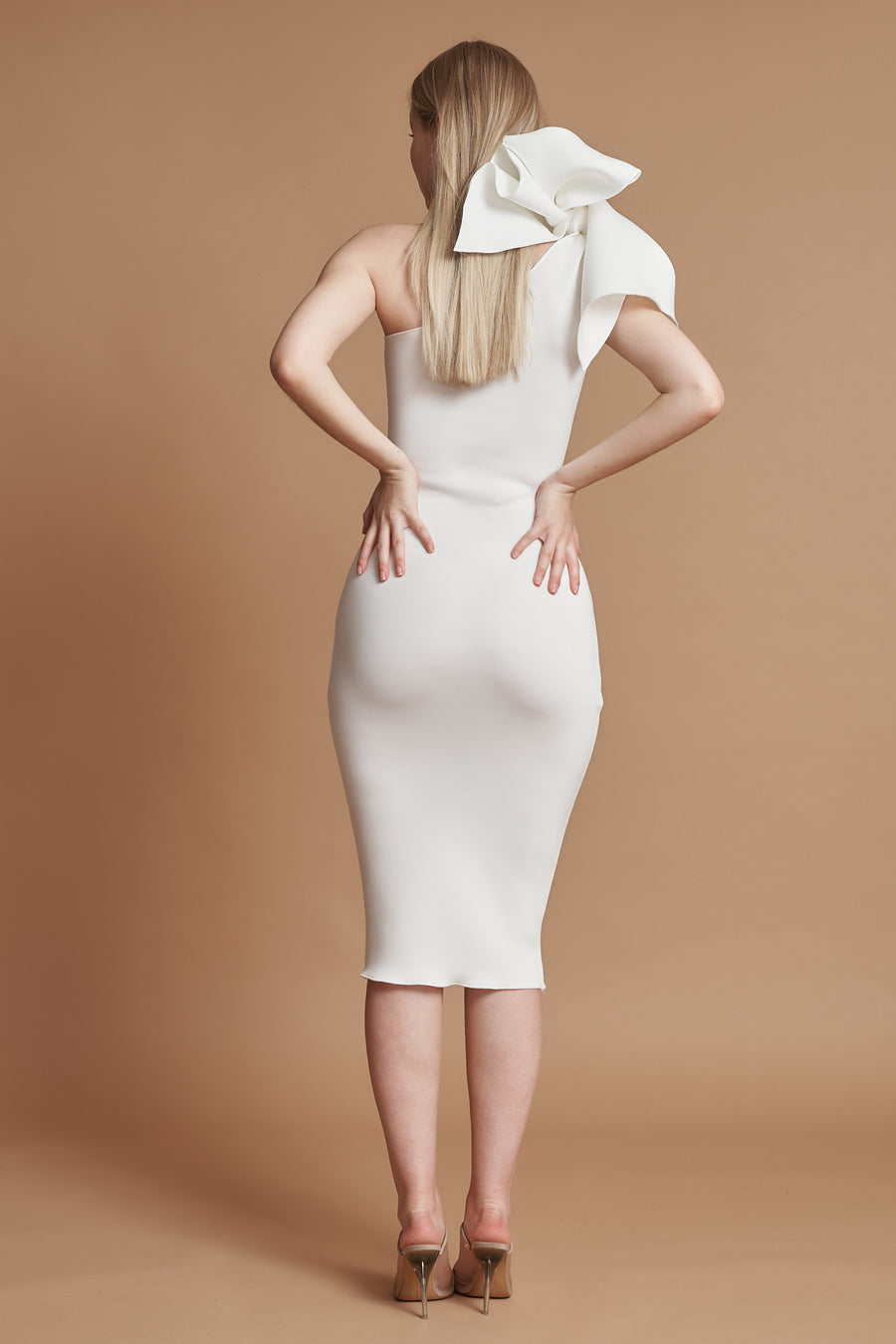 Ivory Bow Detail Maternity Midi Dress