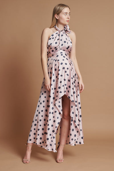 Pink and Navy Polka Dot Halter Maternity Dress