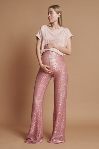 Pink Mermaid Maternity Flares