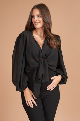 Black Bell Sleeve Maternity Top