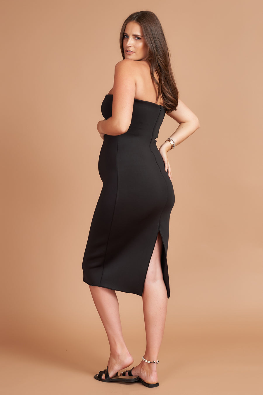 Black Bandeau Maternity Midi Dress