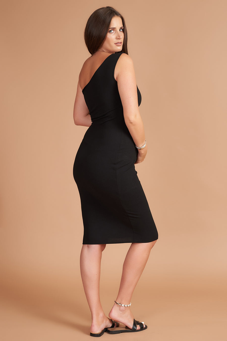 Black Bodycon Maternity Midi Dress - SALE - Size 22