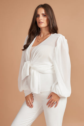 Ivory Bell Sleeve Maternity Top