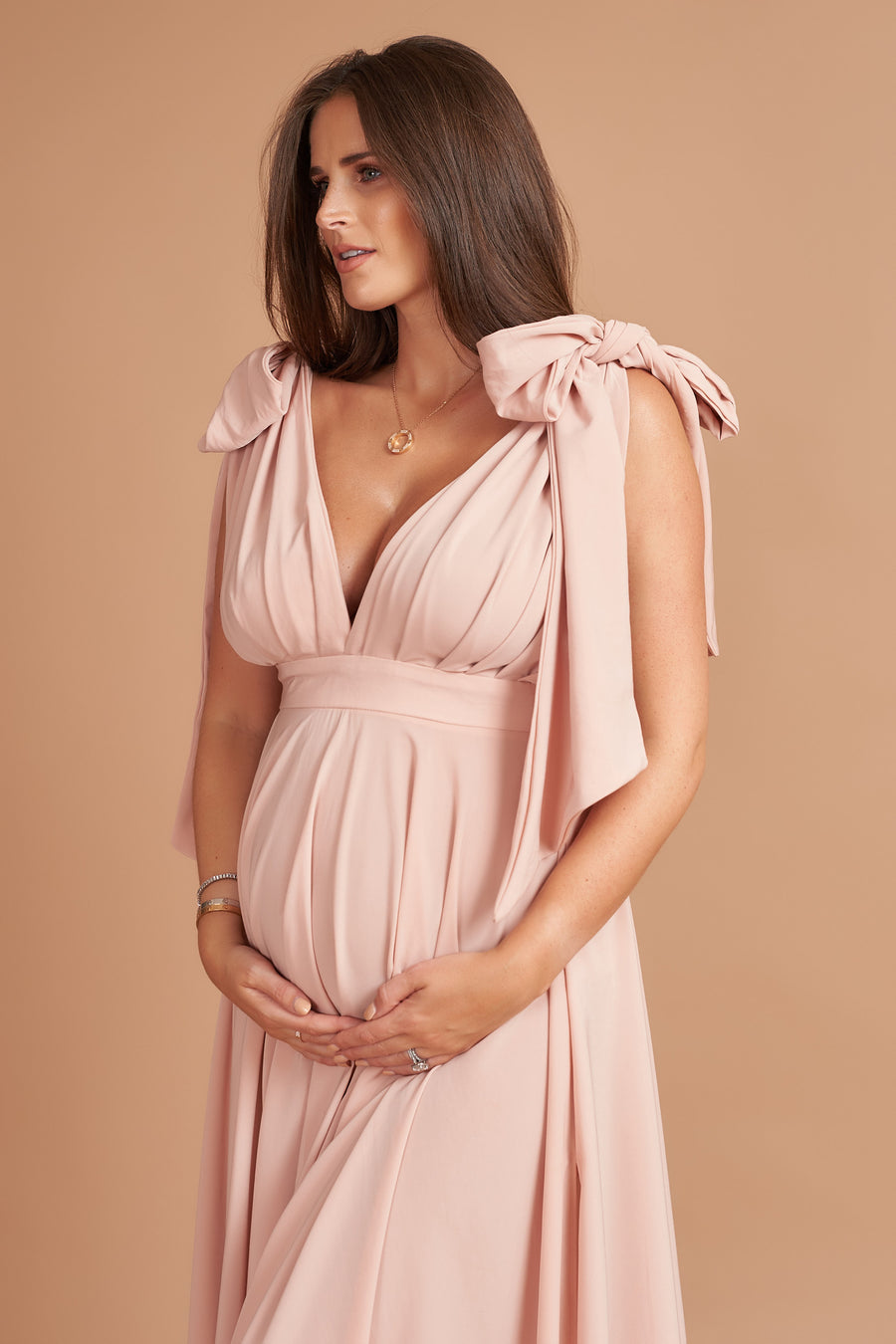 Dusty Pink Pleated Maternity Dress