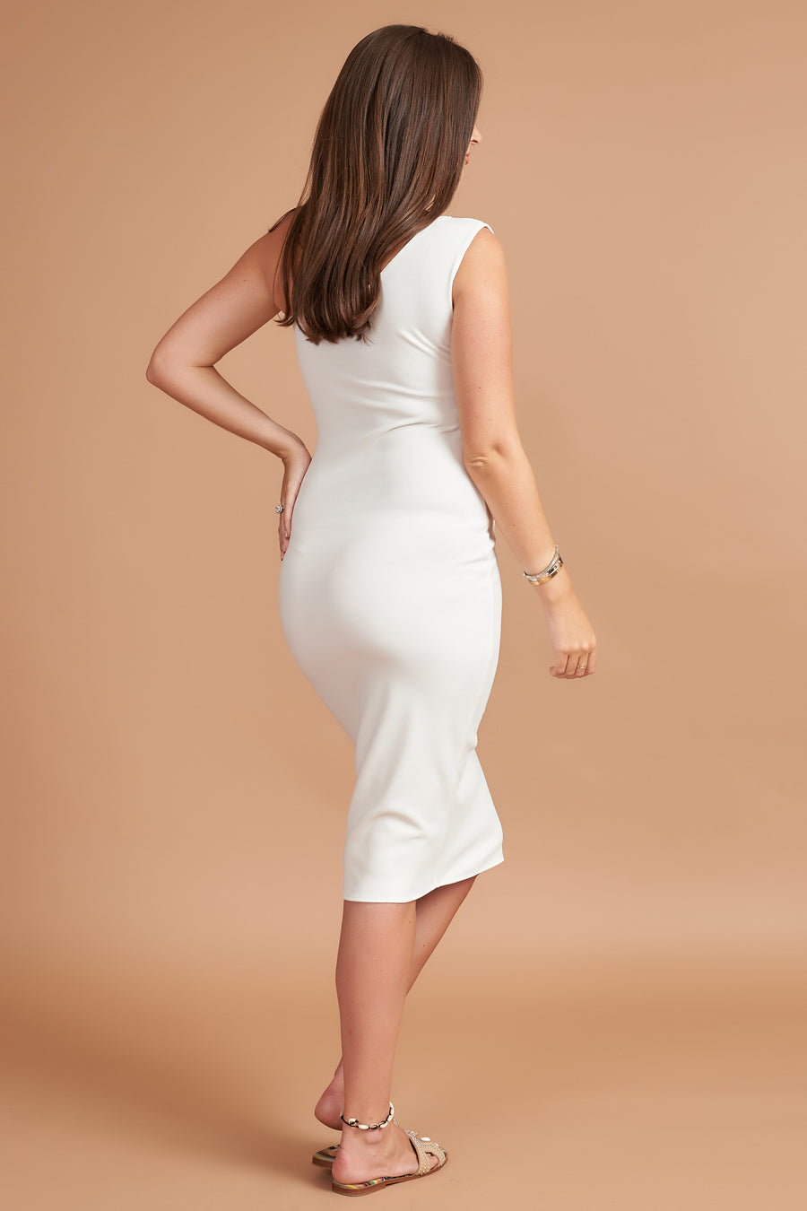 Cream Bodycon Maternity Midi Dress