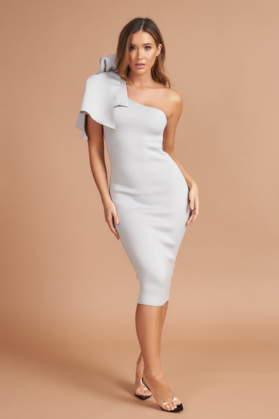 Silver Bow Detail Midi Dress