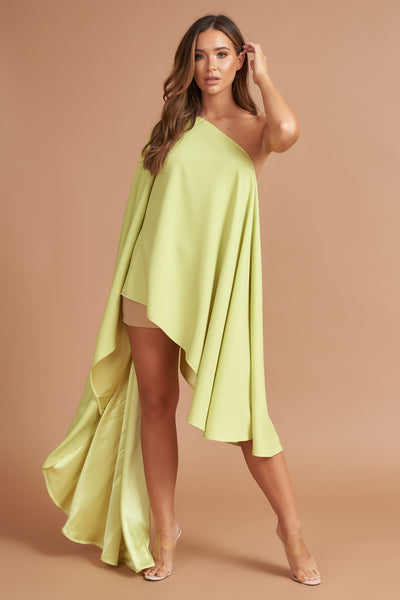 Lime Sheen Asymmetric Drape Dress