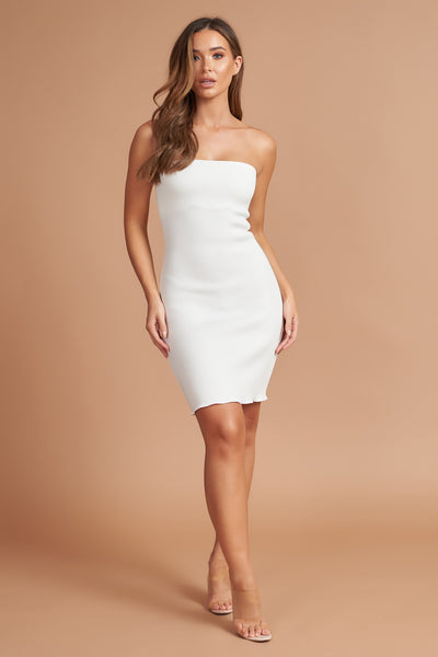 Ivory Bandeau Mini Dress