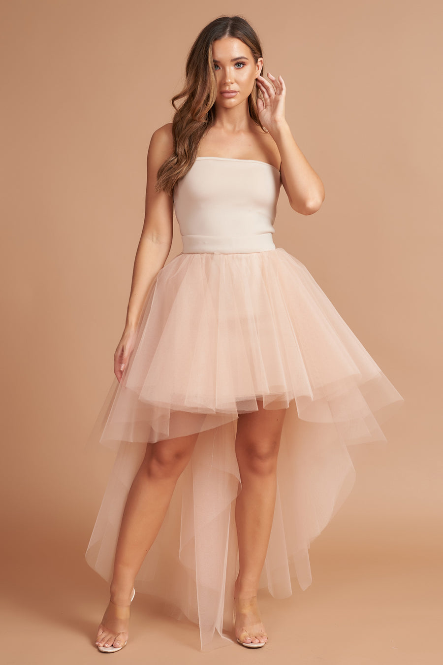 Beige Roxy Tulle Dress