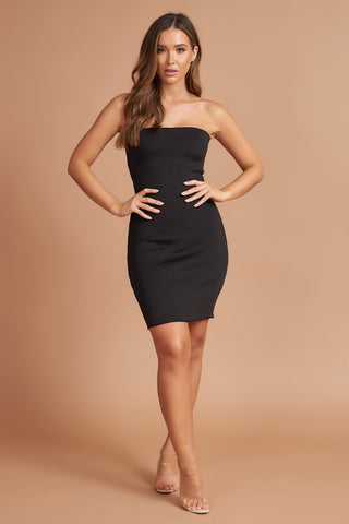 Black Bandeau Mini Dress