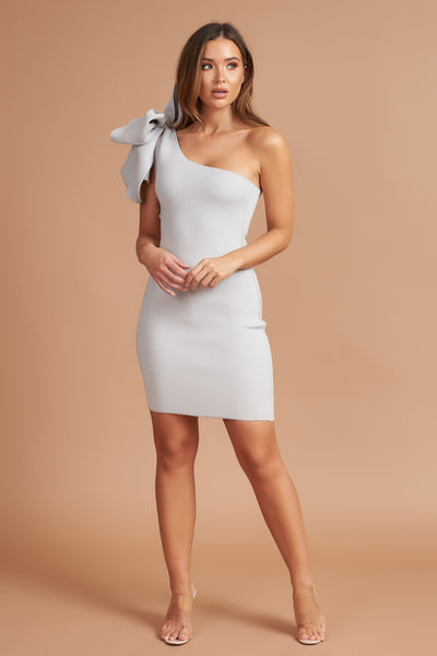 Silver Bow One Shoulder Dress