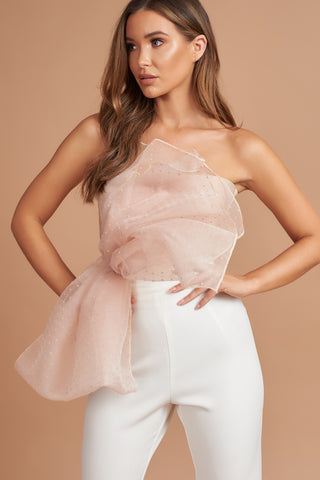 Nude Dot Organza Bow Top
