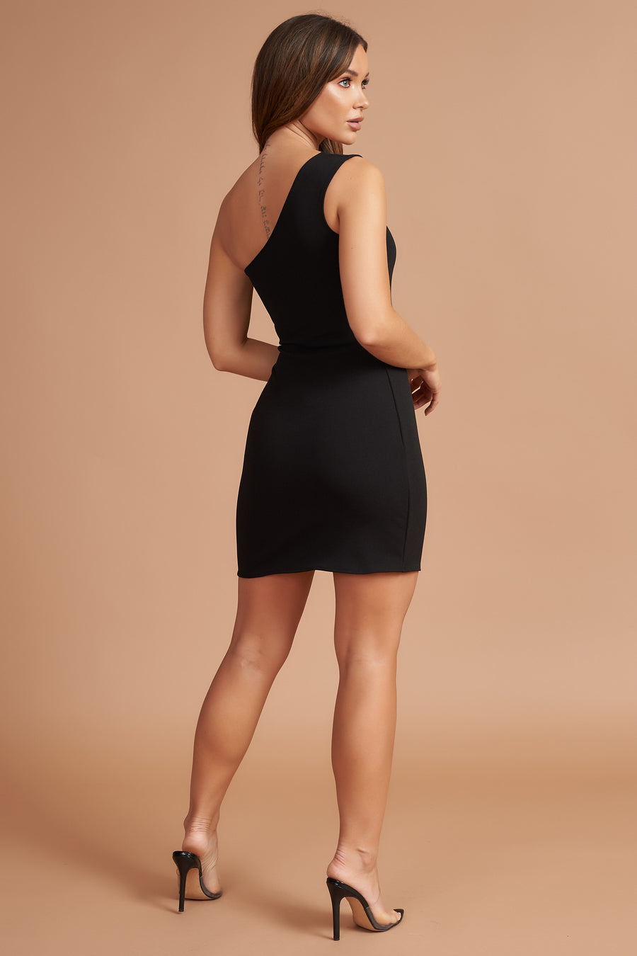 Black Asymmetric Bodycon Mini Dress