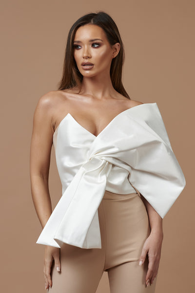 Ivory and Nude Mikado Bow Top
