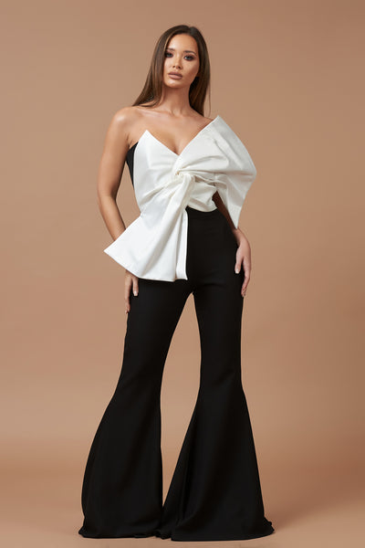 Ivory and Black Mikado Bow Top