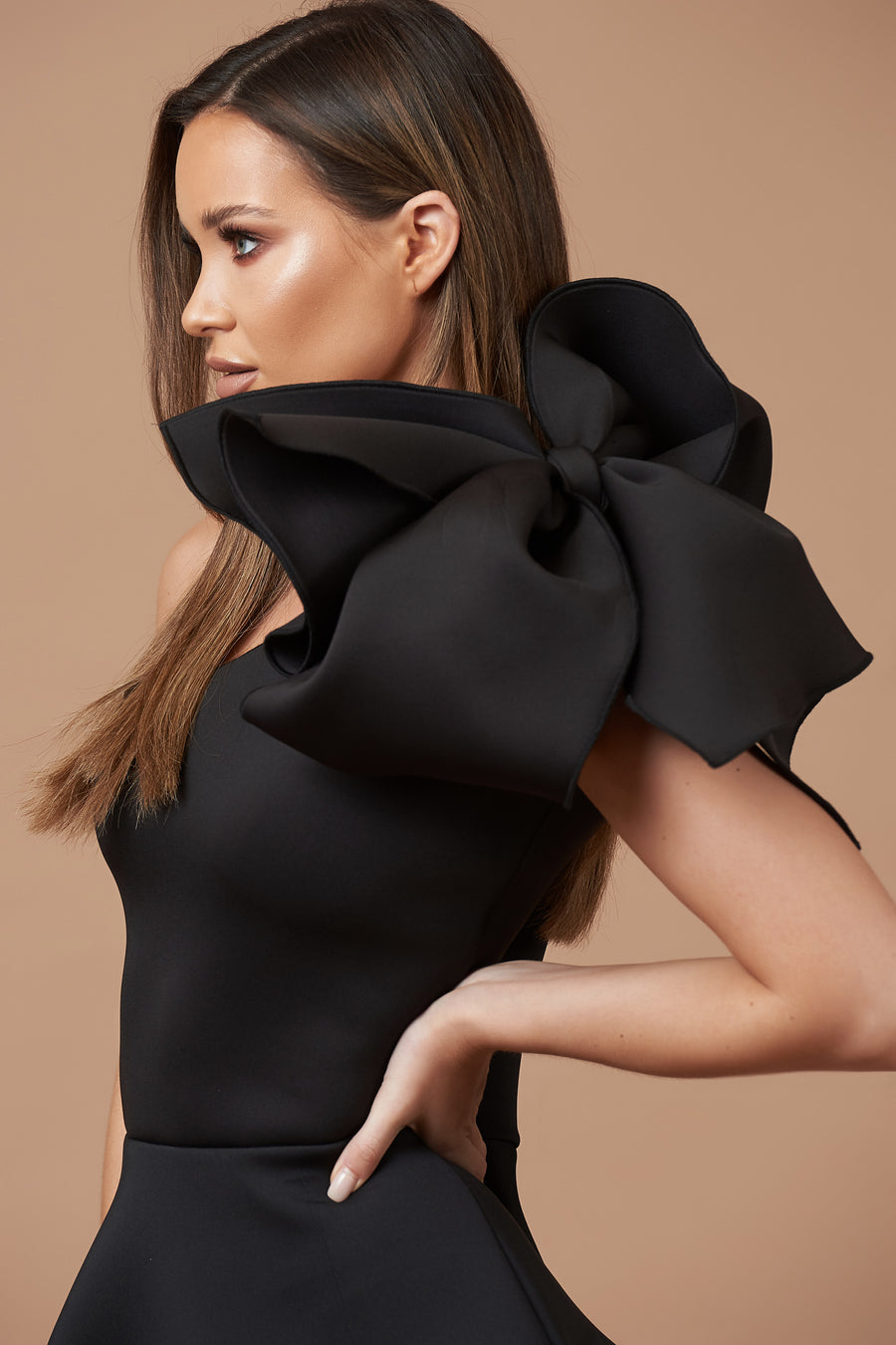 Black Peplum Bow Top