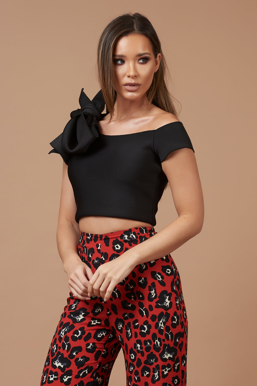 Black Bardot Bow Top