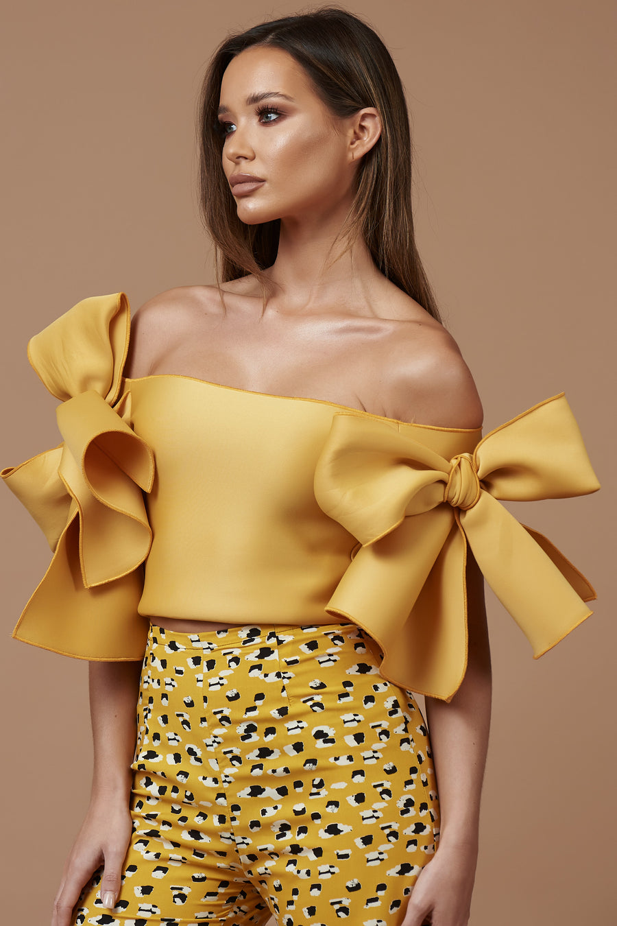 Mustard Off Shoulder Bow Top