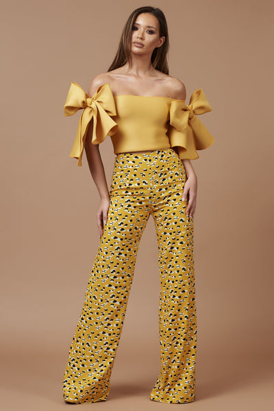 Yellow Animal Print Crepe Flares