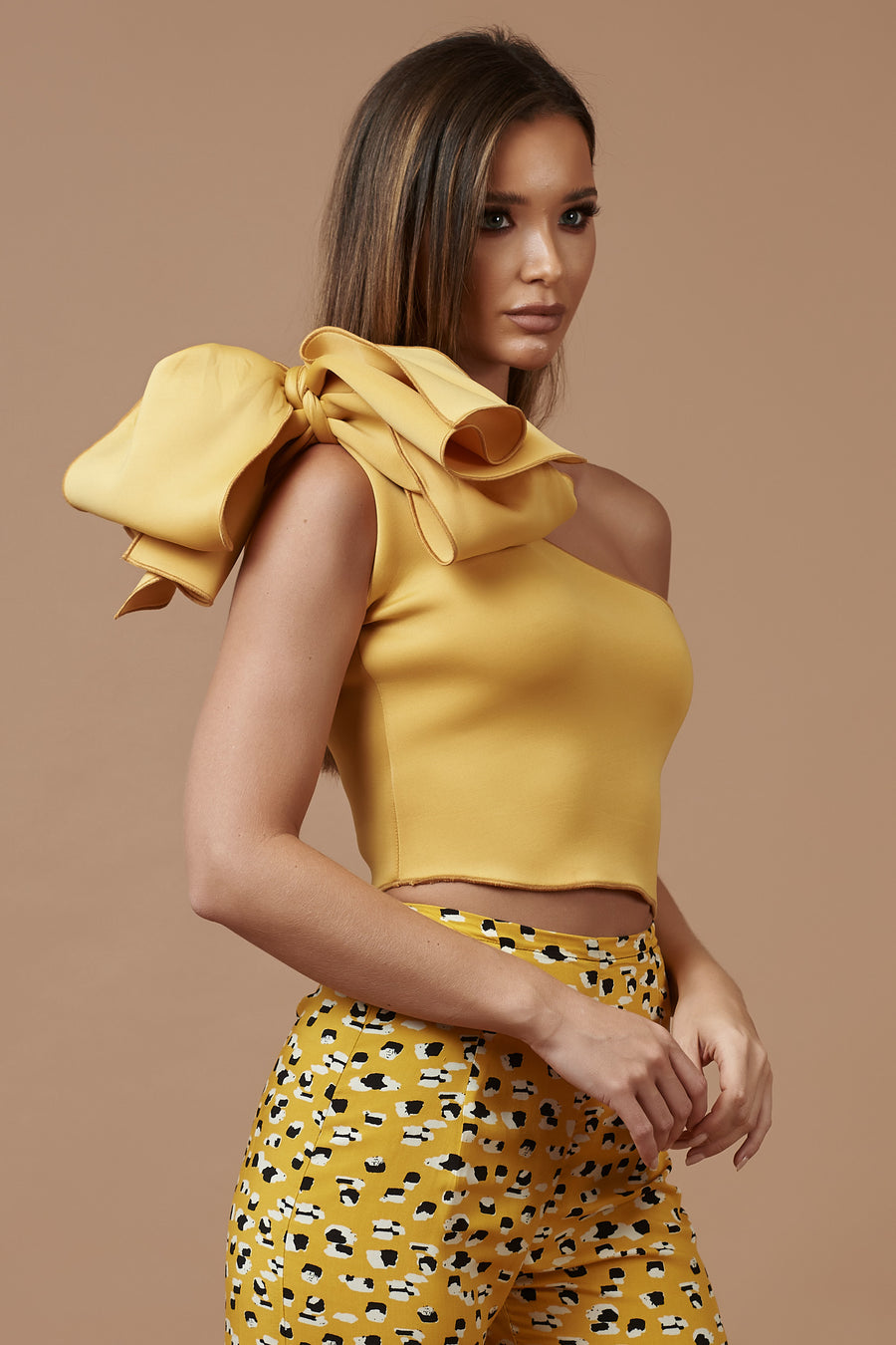 Mustard One Shoulder Bow Top