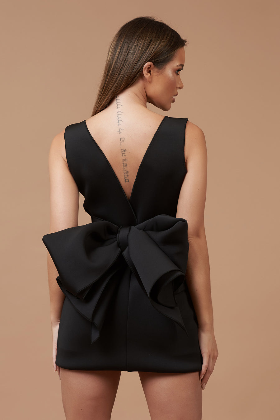 Black Neoprene Bow Back Mini Dress
