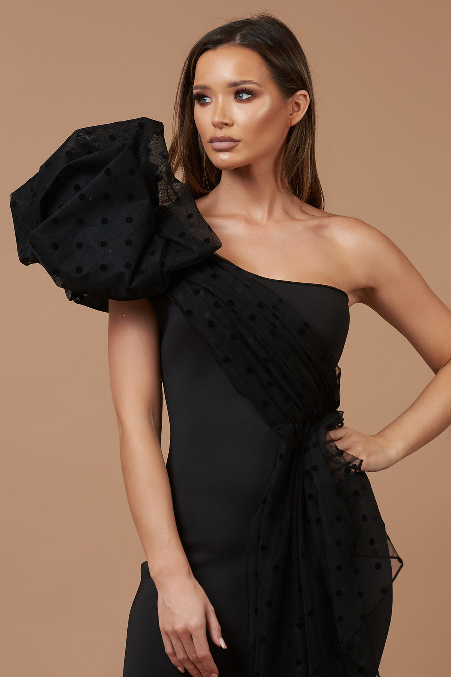 Black Polka Dot Bow Shoulder Dress