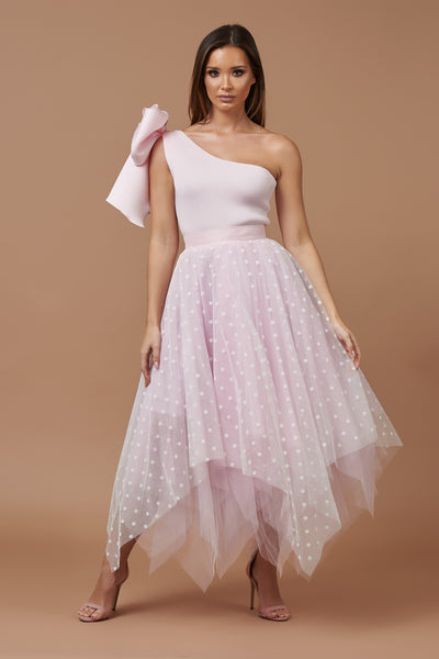 Pink One Shoulder Choppy Tulle Dress