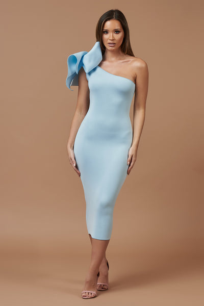 Blue Bow Detail Midi Dress