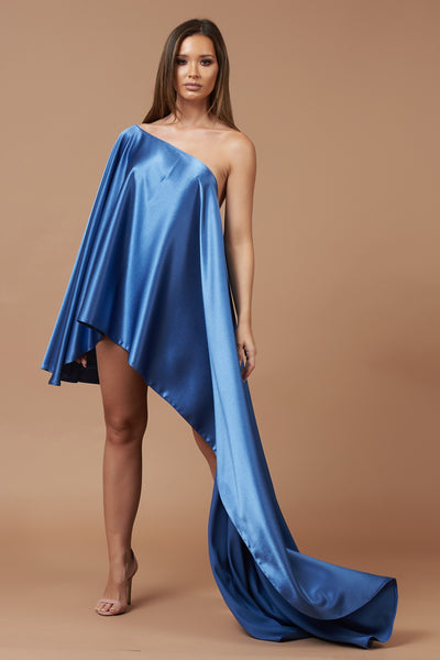 Midnight Blue Sheen Asymmetric Drape Dress