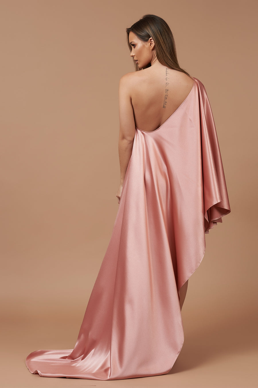 Rose Gold Sheen Asymmetric Drape Dress