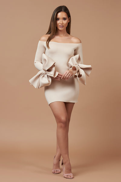 Nude Off Shoulder Bow Cuff Mini Dress