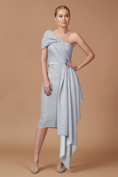 Silver Lurex Drape Midi Dress