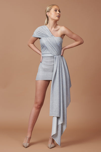Silver Lurex Drape Mini Dress