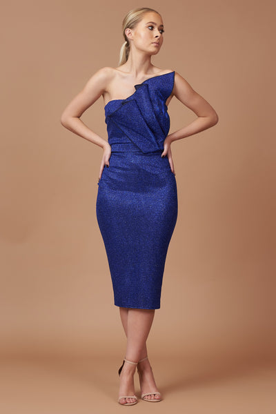LTD Edition Cobalt Lurex Drape Midi Dress