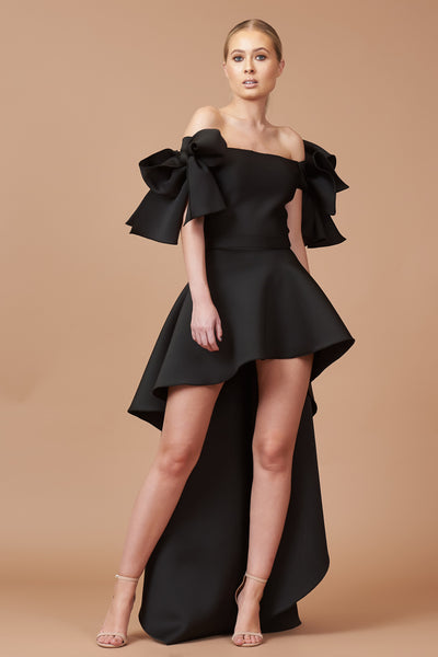 Black Bow Shoulder Roxy Dress