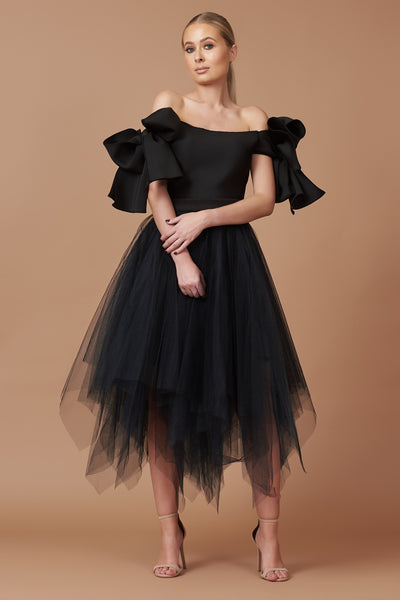 Black Bardot Bow Choppy Tulle Dress