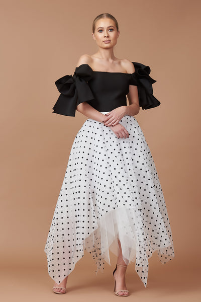 Monochrome Bardot Bow Choppy Tulle Dress