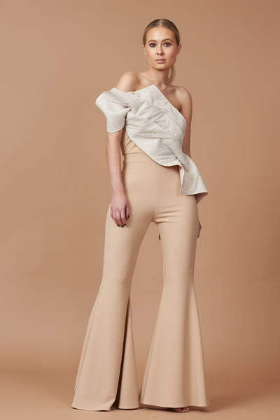 Nude Sparkle Bodice Flared Jumpsuit