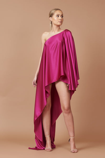 Fuchsia Sheen Asymmetric Drape Dress