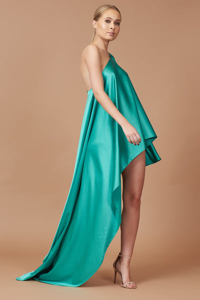 Aquamarine Sheen Asymmetric Drape Dress