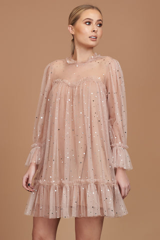 LTD Edition Nude Star Tulle Tunic Dress