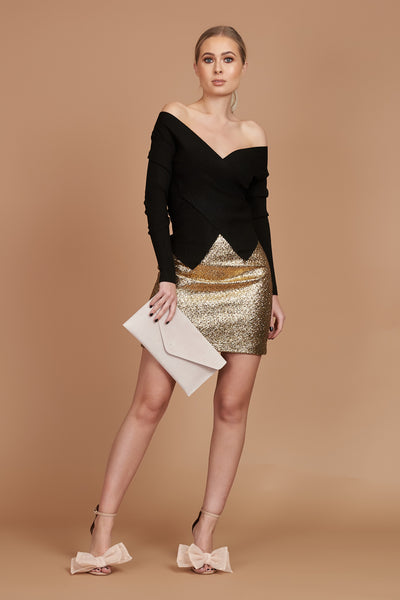 Dull Gold Metallic Wool Mini Skirt