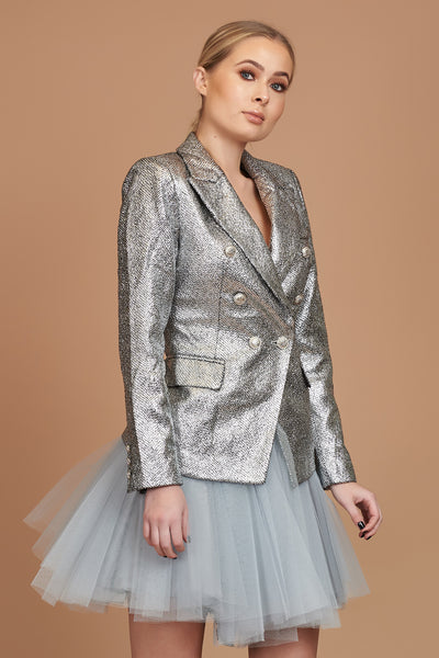 Silver Metallic Textured Blazer