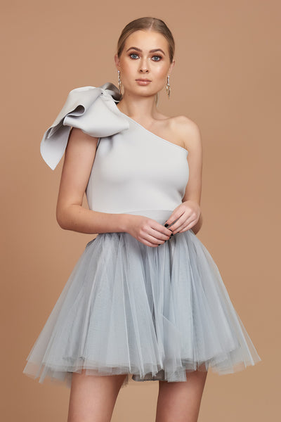 Silver Bow Mini Tulle Dress