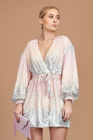 Pink And Silver Sequin Wrap Dress